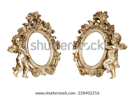 Set of oval baroque golden picture frames with cupid isolated on white with clipping path. - stock photo