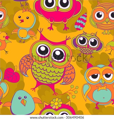set of owls  - stock photo