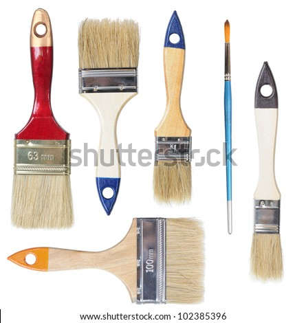 Set of painbrushes isolated on white background - stock photo