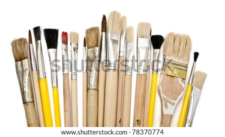 Set of paint brushes on a white background. - stock photo