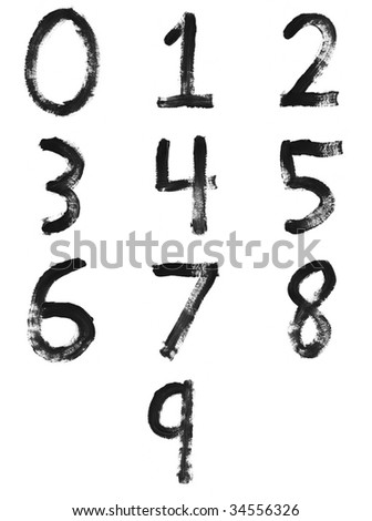 Set of painted letters, numbers & symbols - stock photo