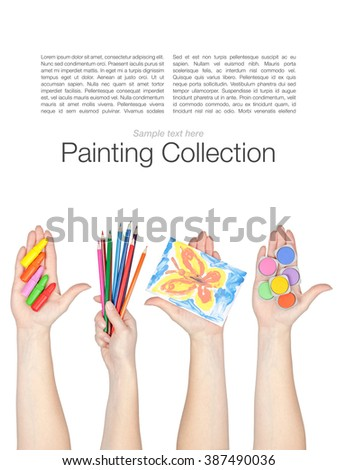 set of painting equipment in a hands isolated on white background