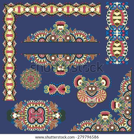 set of paisley floral design elements for page decoration, frame, corner, divider, circle snowflake, stripe pattern,  raster version illustration on dirty dark blue - stock photo