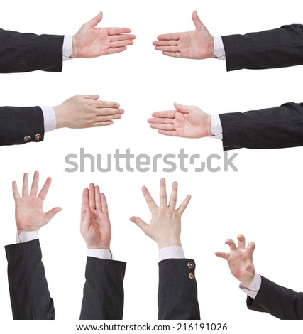 set of palms with five fingers - hand gesture isolated on white background - stock photo