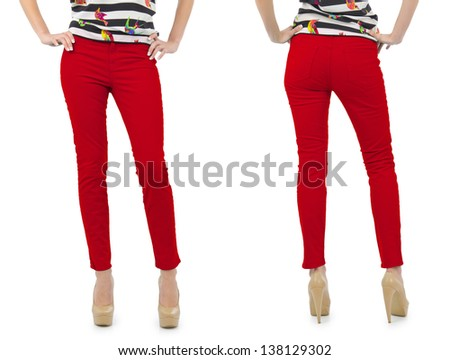 Set of pants composition on white - stock photo