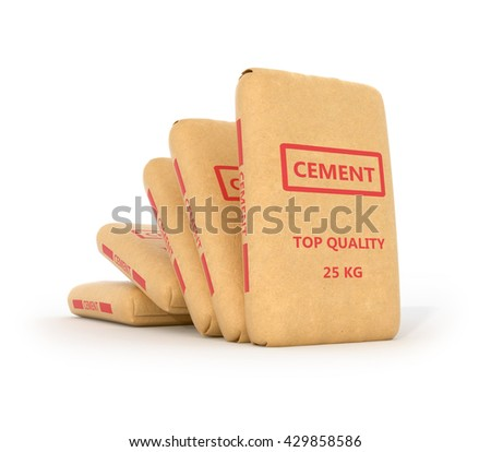 Set of paper bags of cement on a white background. 3D illustration.