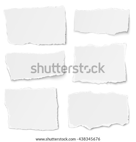 Set of paper different shapes tears isolated on white