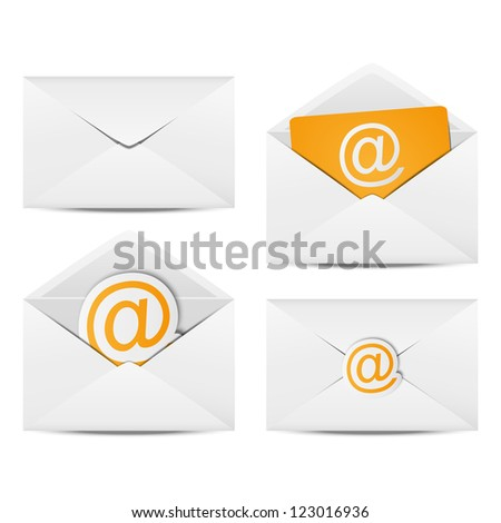 Set of paper Email envelopes - stock photo