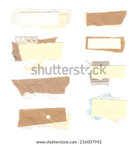 Set of paper labels. Paper collage. Set of realistic pieces ot torn brown paper. - stock photo