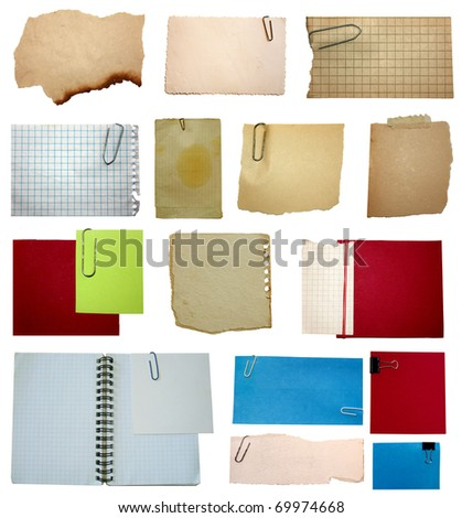 set of paper notes isolated on white background - stock photo