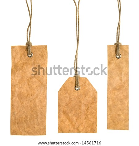 Set Of Paper Tags Isolated On White