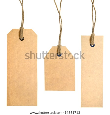 Set Of Paper Tags Isolated On White Background. Hand made. - stock photo