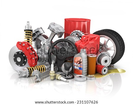Set of parts of car.  - stock photo