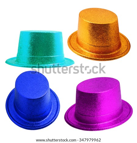 Set of party hat isolated on the white background. - stock photo