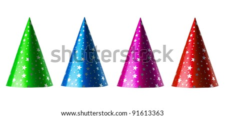 Set of party hats isolated on white with clipping paths - stock photo