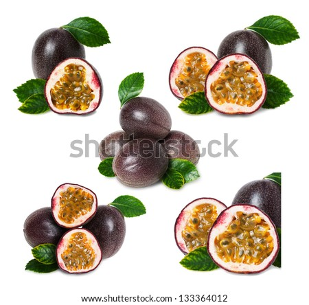 Set of passion fruits isolated fr ypur design - stock photo