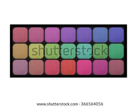 set of pastel eyeshadows isolated on white background - stock photo