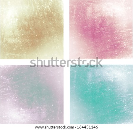 Set of 4 pastel textured backgrounds - stock photo