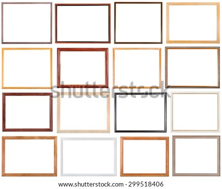 set of 16 pcs narrow wooden picture frames with cut out blank space isolated on white background - stock photo