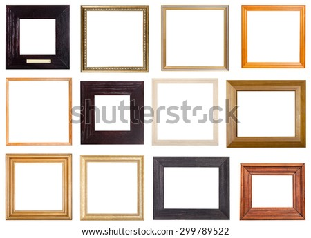 set of 12 pcs square wooden picture frames with cut out blank space isolated on white background - stock photo