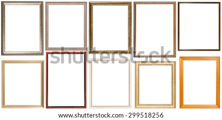 set of 10 pcs vertical wooden picture frames with cut out blank space isolated on white background - stock photo