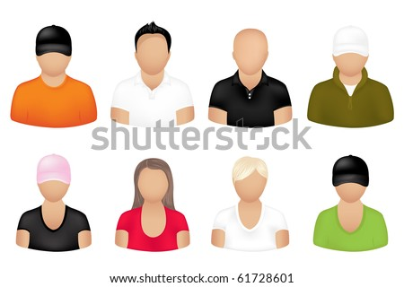 Set Of People Icons, Isolated On White - stock photo