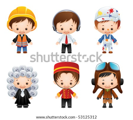 set of people occupations icons - raster version - stock photo