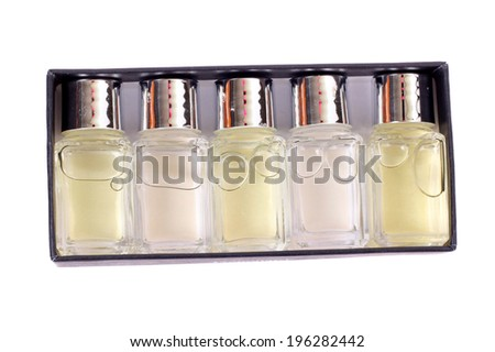 set of perfumes isolated on white - stock photo