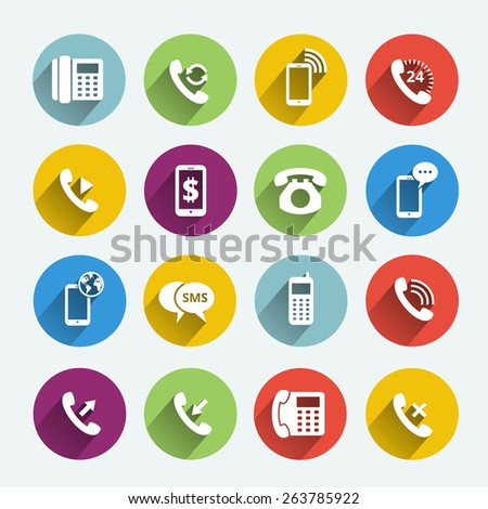 Set of phone handset flat icons isolated in colored circles - stock photo