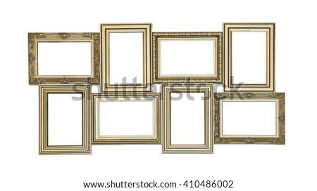 Set of photo frames antique with few blank windows inside isolated on white background - stock photo