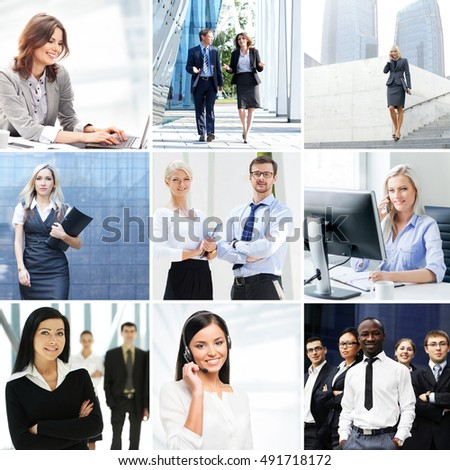 Set of photos about office workers in different business situations.