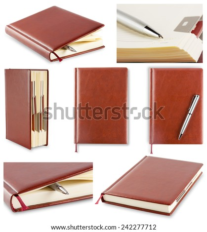 Set of photos diary with brown cover isolated on white background - stock photo
