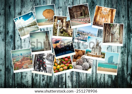 Set of photos from Barcelona. Spain - stock photo