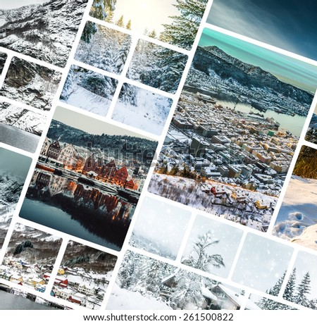 Set of photos from Bergen, Norwegia - stock photo