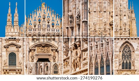 Set of photos - Milan, Italy Cathedral facade details - features many sculptures and statues, openwork pinnacles and spires, decorated windows. It is a famous landmark in the city - stock photo