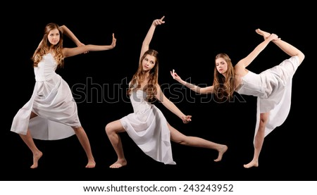 Set of photos modern style dancer isolated over black background - stock photo