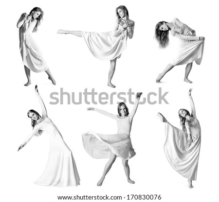 Set of photos modern style dancer isolated over white background. Black and white - stock photo