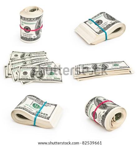 set of photos of U.S. dollars - stock photo