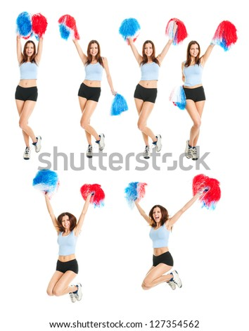 Set of photos with beautiful cheerleader. Isolated on white background - stock photo