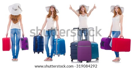 Set of photos with woman travelling - stock photo