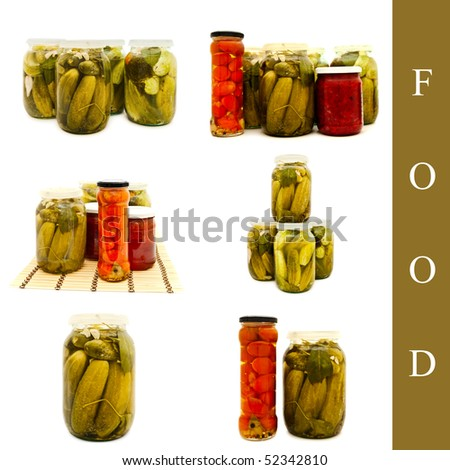 set of pickled tomatoes and cucumbers over white background - stock photo