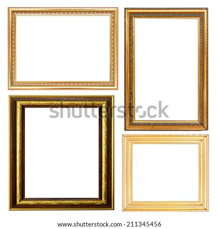 set of picture frame gold isolated on white.