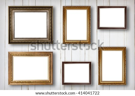 Set of picture frame. Photo art gallery on wood vintage wall. - stock photo
