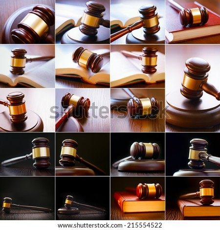 set of pictures with the image of the gavel and law books of the country for trial in the courtroom - stock photo