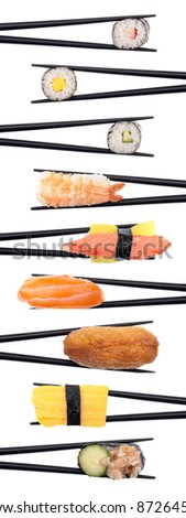 Set of 9 pieces of sushi being held with black chopsticks making a row isolated on white. - stock photo