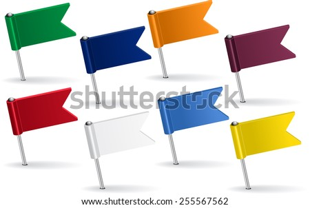 Set of pin icon flags. Raster version - stock photo