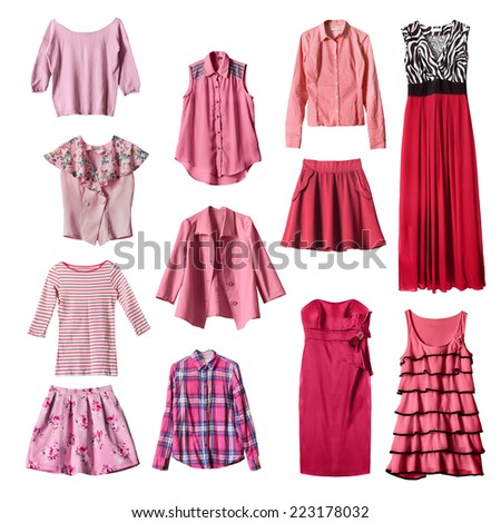 Set of pink and red female clothes on white background - stock photo