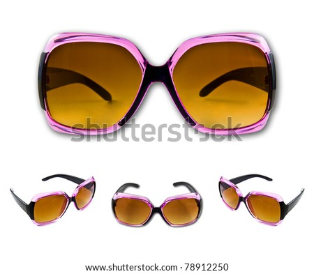 Set of pink sunglasses isolated on the white background - stock photo
