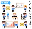 Set of pixel icon. Office theme vector illustration - stock vector