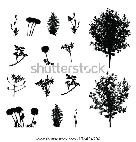 Set of Plant, Tree, Foliage Elements Silhouette  Illustration